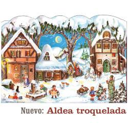Calendario de Adviento vintage con purpurina ALDEA TROQUELADA