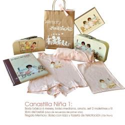 Canastilla Niña 1: Ropa y accesorios para el bebé. PRECIO ESPECIAL REDUCIDO. Dto. -25 %