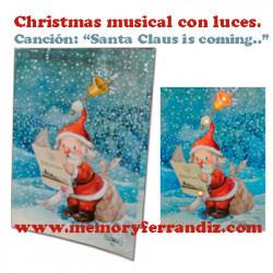 "Tarjeta Musical ""Santa Claus"" + luces. Villancico ""Santa Claus is coming"""