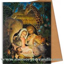 Tarjeta Christmas Ferrándiz BELÉN AFRICANO, 15X19cm+ sobre color