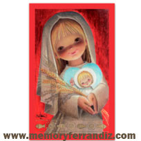 Ferrándiz Communion Box Cards RED SERIES GIRL 7,5X12cm: 50 units