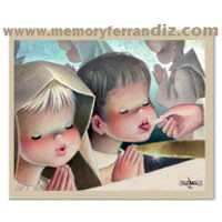 Ferrándiz Communion Box Cards CHILDREN TAKING COMMUNION, 50 units, 7,5x12cm