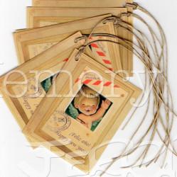 Etiquetas regalo FIN DE AÑO, Ferrándiz con cordel rústico. Feliz año, pack 6 uds,