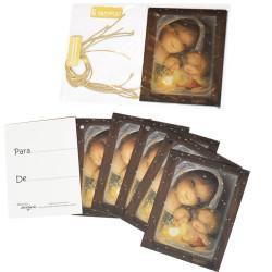 Mini tarjetas-etiquetas regalo VIRGEN NIEVE, Ferrándiz, con cordel rústico.