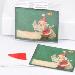 Mini tarjetas-etiquetas regalo Papá Noel autoadhesivas. 7 X 5,5 cm. Memory Ferrándiz