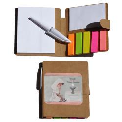 """Libreta mini con notas adhesivas + bolígrafo """"Niña rosa"""" 8 x 9 x 1 cm."""