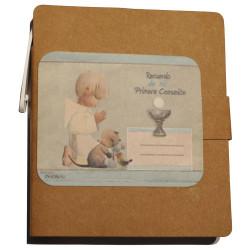 """Libreta mini con notas adhesivas + bolígrafo """"Niño azul"""". 8 x 9 x 1 cm."""
