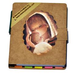 """Libreta mini con notas adhesivas + bolígrafo """"Virgen cálida"""". 9 x 8 x 1 cm."""