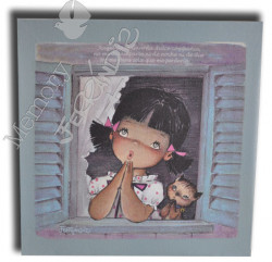 Cuadro en lienzo digital Memory Ferrándiz -Niña y gatito rezando- Numerado © Memory Ferrándiz.