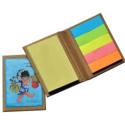 "Mini libro con notas adhesivas  ""Hawaiana"". 6,5 x 8,5 x 1 cm. Tapa dura."