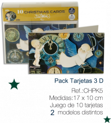 Christmas Cards Ferrándiz, NEW YEAR (2D) pack 10 pcs x 2 models (10x17 cm) + envelopes