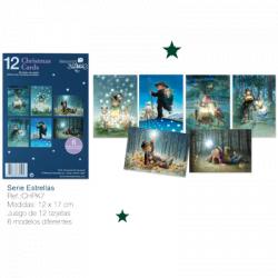 """Christmas 12  cards + sobres  (12 x 17 cm). Serie """"Estrellas"""" CHPK 7."""