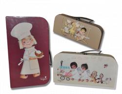 SET 3 Cases Memory Ferrandiz. Cardboard briefcase with handle metal: LITTLE ANGELS