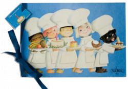 """Tarjeta Musical Cumpleaños """"Cocineros"""" (luz,sobre color)(22,5x15,5 cm)."""