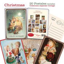 Colección especial 20 modelos de postales vintage Ferrándiz en cajita metálica.