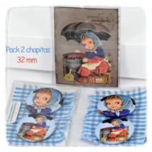 Chapitas pack 2 uds: CASTAÑERA. 32 mm