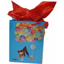 Bolsa papel regalo FIESTA GLOBOS, M, Ferrándiz, con etiqueta y papel de seda, 18x23x10cm.