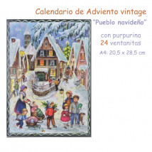 Calendario de Adviento vintage con purpurina Pueblo navideño