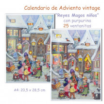 Calendario de Adviento vintage con purpurina Reyes Magos Niños
