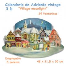 """Calendario de Adviento vintage 3 D """"Village Moonlight"""""""