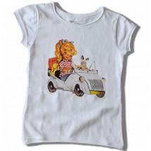 "Camiseta ""Biscuter"". Dibujo frontal y dorsal. Color Blanco. Tallas MUJER"