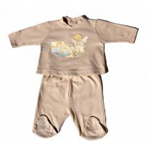 "Camiseta y polaina ""Ángel cuna"" + gorrito. Tallas 0 y 1 mes. Color beige"