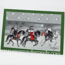 Tarjeta Christmas Ferrándiz REYES MAGOS ROJO Y VERDE, 12x17 cm.
