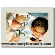 Cuadro en lienzo digital -Niña y niño con lirios-  Ferrándiz
