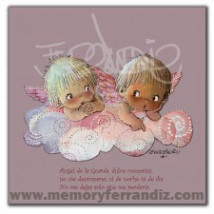 Cuadro en lienzo digital Memory Ferrándiz -ANGELITOS EN NUBE ROSA- 30X30cm