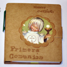 "Libreta mini con notas de colores autoadhesivas +bolígrafo. ""Primera Comunión"".9 x 8 cm. ""Consagración""."