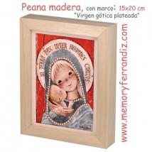 "Peana de madera, con marco: 15 x 20 cm, Ferrándiz  ""Virgen gótica plateada"""