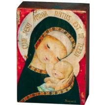 "Peana Madera Artesana ""Virgen Gótica"". 9 cm x13 cm x 4,5 cm"
