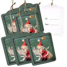 """Etiquetas regalo adhesivas PAPÁ NOEL, Memory Ferrándiz, con cordel rústico. Pack 6 uds. """"Para...De..."""""""