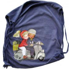 Bolsa algodón VESPA, imagen retro del cuento de Ferrándiz, Bolsa para bata o gimnasia, 38x32 cm