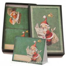 Cajita Papá Noel, con 24 tarjetas mesa navidad