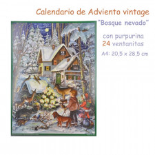 Calendario de Adviento vintage con purpurina Bosque nevado