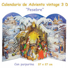 Calendario de Adviento 3 D con purpurina Pesebre