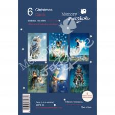 Christmas Ferrándiz, serie LUZ DE ESTRELLAS,  Pack 6 tarjetas variadas, CHPK 34