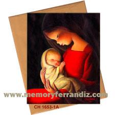 Tarjeta Christmas Ferrándiz VIRGEN ROJA FONDO NEGRO, 15X19cm+sobre color