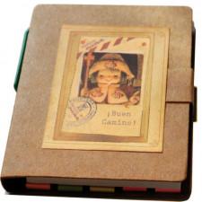 "Libreta mini con notas adhesivas + bolígrafo ""Apóstol Santiago"". 9 x 8 x 1 cm."