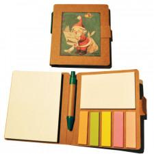 Libreta mini con notas adhesivas + bolí PAPÁ NOEL. 8x9 x1 cm.