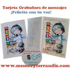 """Tarjeta Grabadora de mensajes  """"Angelito Banderas"""" + sobre (23 x 17 cm)"""