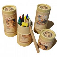 """Tubo de lápices y ceras +sacapuntas """"Peregrino en burrito"""". 4,5 x 10 cm"""