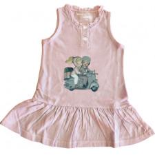 "Vestido tapeta ""Vespa"". Volante bajo. Color rosa."